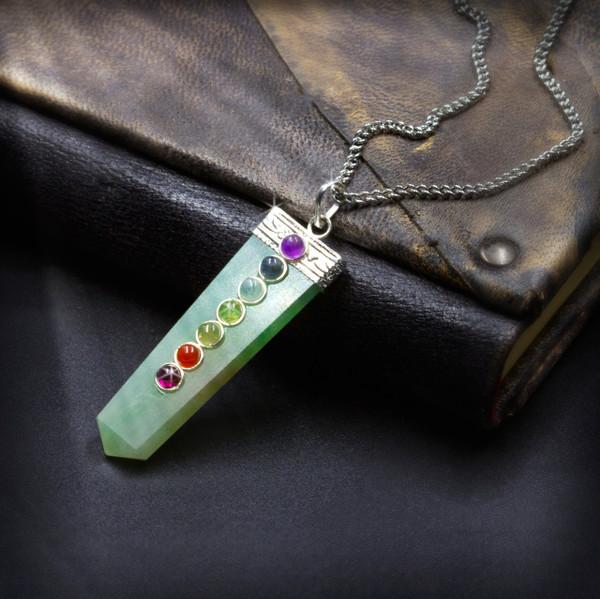 "Green Aventurine ""Lucky Stone"" 7 Chakra Healing Pendant"