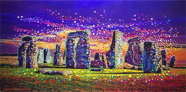 How Stonehenge Appears To Those Who Can See Spiritual Energies. Click and try it yourself.  Stonehenge Energy Painting By Julia Watkins