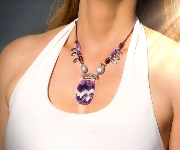 The Fairy Queen's Magical Energy Necklace - Amethyst, Pearl & Silver