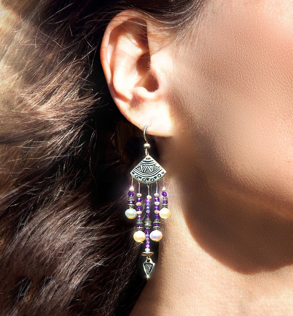 Fairy Queen's Magical Energy Earrings - Amethyst, Pearl, Moonstone & Silver