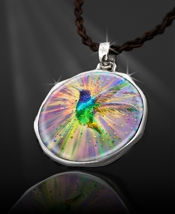 "Hummingbird Magic Energy Pendant  From the ""New Bohemian"" Collection. Platinum Plated."