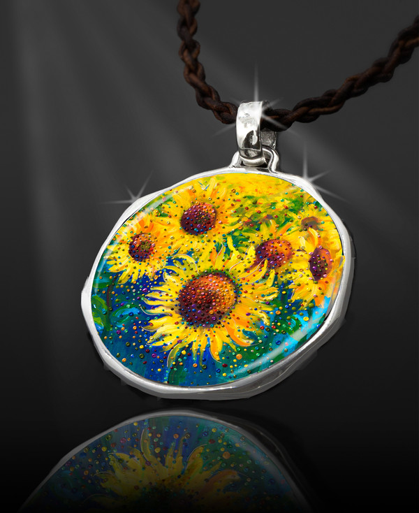 """Sunflowers Life-Joy Energy Pendant  From the """"New Bohemian"""" Collection. Platinum Plated."""
