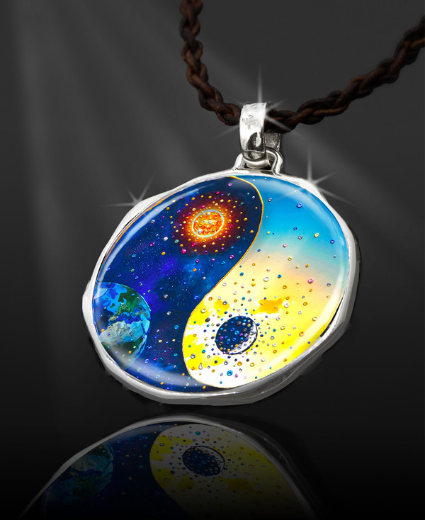 """Yin And Yang Sun & Moon Positive Energy Pendant  From the """"New Bohemian"""" Collection. Platinum Plated."""