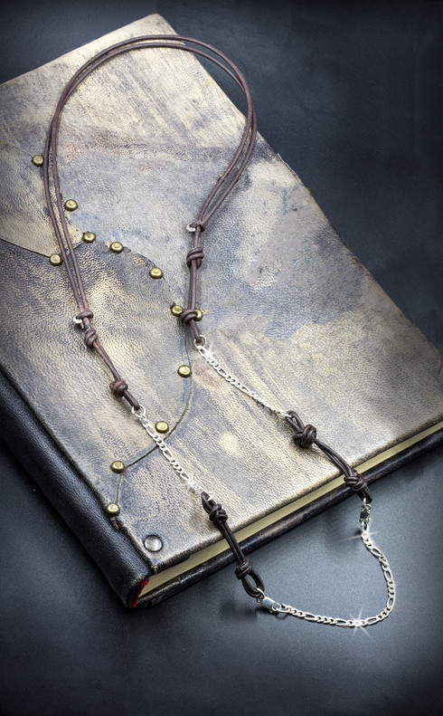 Bohemian Leather And Silver Adjustable Necklace  By Energy Artist Julia