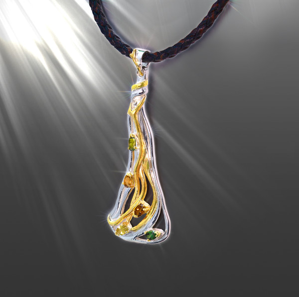 The Eternal Love Sacred Energy Necklace. Gold, Silver & Tourmaline.