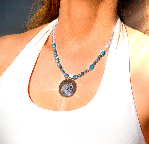 """Ancient Nautilus Fossil """"Peace And Harmony"""" Necklace.  Infused with calm soothing energies."""