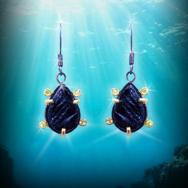 The Black Turtle Protection And Longevity Earrings - Black Tourmaline, Citrine, Silver & Gold