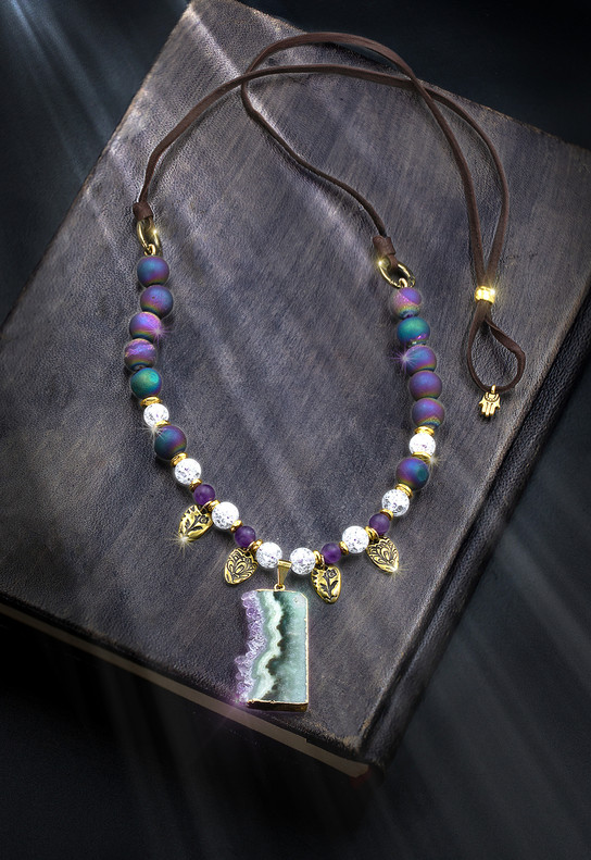 """The """"Family Protection"""" Energy Necklace. Protects you and your family. Amethyst & Rainbow Aura Quartz Plus Hamsa Protective Talisman."""