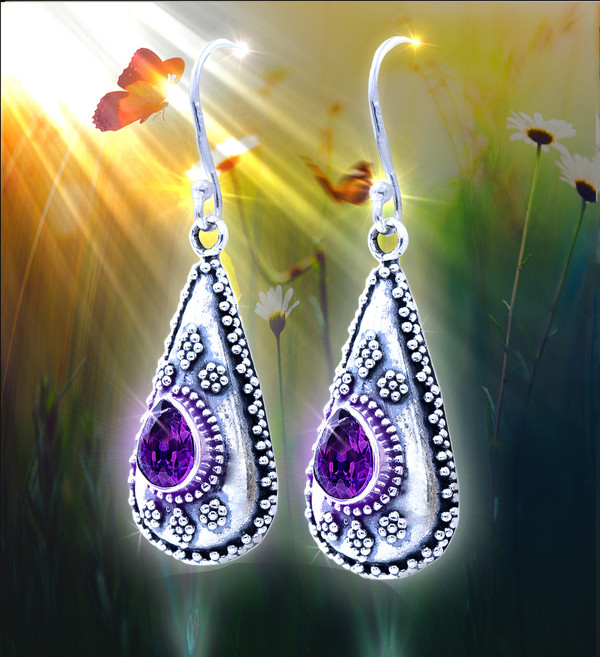 """Nepalese """"Mind Clarifying"""" Energy Earrings - Mountain flower design and amethyst facilitate clearer thoughts."""