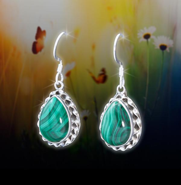 Malachite Positive Protection Energy Earrings - Guaranteed authentic stones deflect negativity