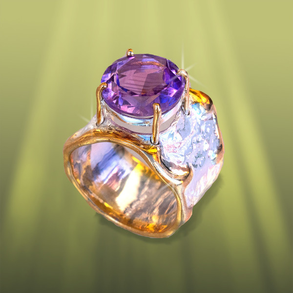 The Falling Water Ring - Lavender Amethyst, Gold And Silver