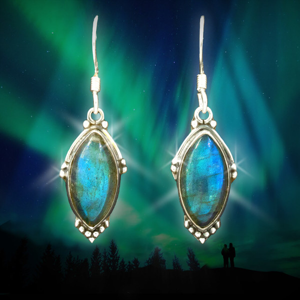 The Northern Lights Earrings - Blue fire labradorite captures the mystical powers of the aurora borealis.