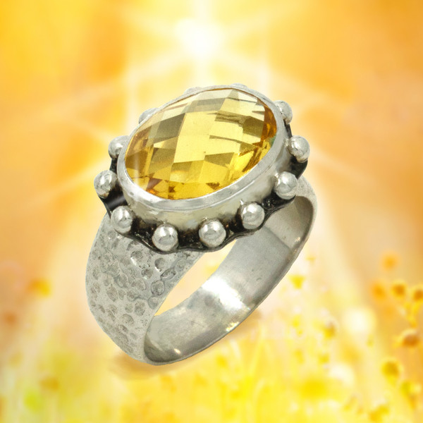 "The ""Divine Lightworker"" Citrine Healing Ring - Unique checkerboard stone releases amazing healing energies."