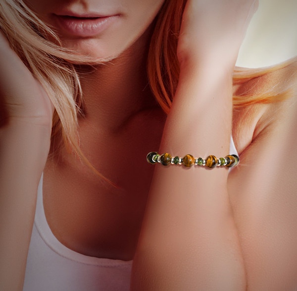 The Ultimate Confidence  Building Bracelet - Empowering tiger's eye and green serpentine.