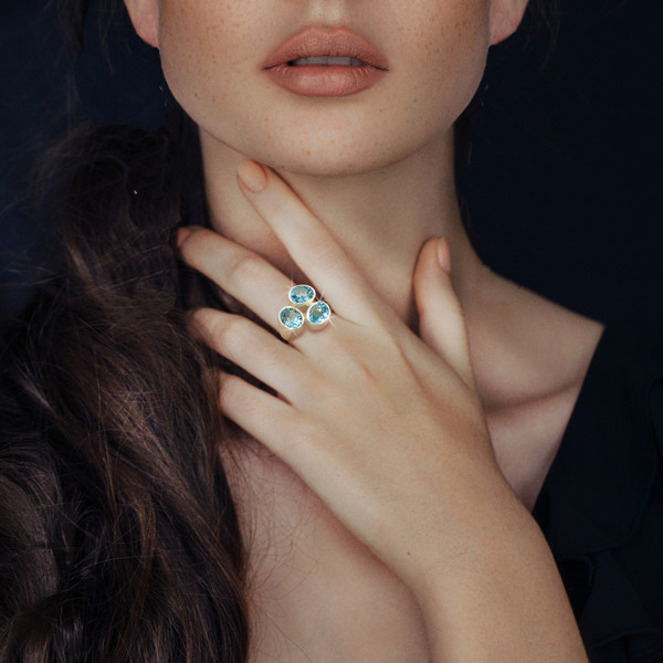 The Soul Sister Ring - Spiritual relationship building blue topaz