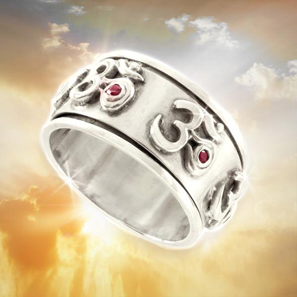 "Tibetan Design ""Prayer Wheel"" Ring  - Sacred Om Symbol. Silver & Ruby"