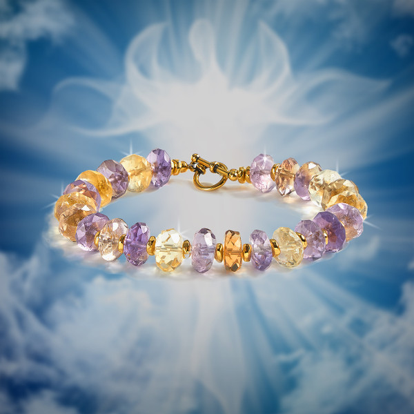 """The """"Messages From Above"""" Psychic Intuition Bracelet - Amplifies communications from the divine. Gem grade ametrine."""