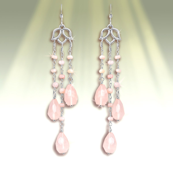 The Awakened Love Earrings -  They activate the love all around you.  - Rose Quartz, Pink Opal and Lotus Design.