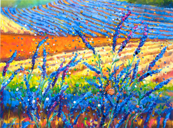 Lavender Fields Energy Painting - Giclee Print