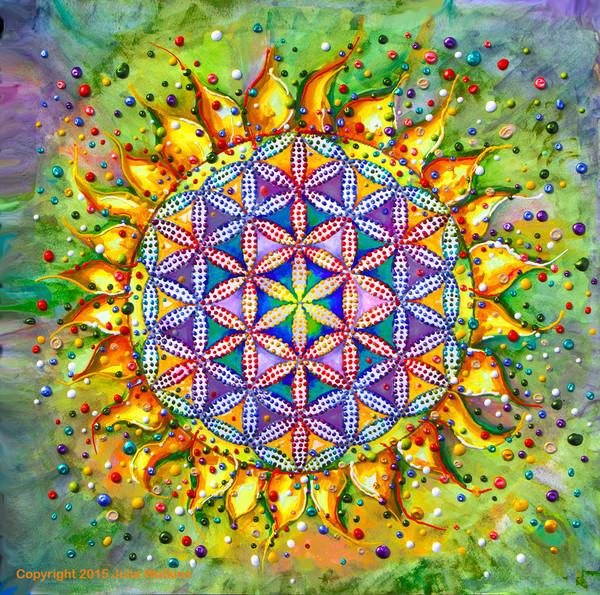 Flower Of Life Sacred Energy Painting - Giclee Print