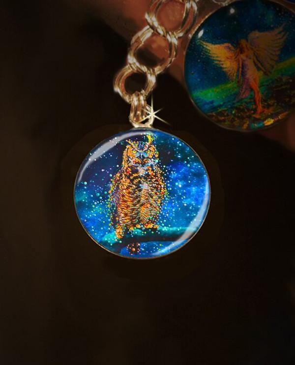 Star Owl  Silver Charm - Conduit To Celestial Wisdom