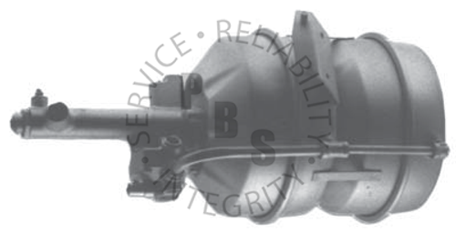"""C4058, Hydrovac, Tandem Unit  11-11/16"""" Diameter, 22-7/16"""" Overall Length  5/16"""" Inverted Flare Input, 5/16"""" Inverted Flare Output  Chevy/GMC Application"""