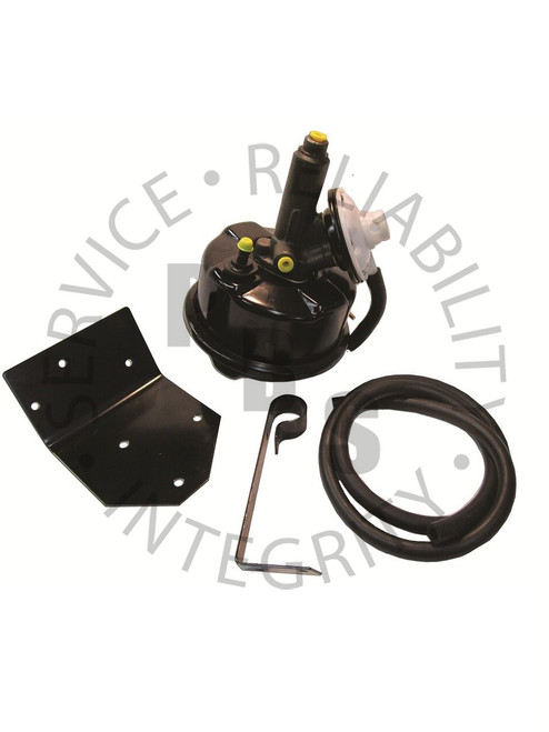 """PB900, Universal An ideal choice if you have an older single master cylinder or dual reservoir master cylinder system and you want more power to stop your vehicle. A simple power brake solution when all other options are eliminated. There are times when there simply is no room for a standard modern power brake unit under the hood or you don't want anything on the firewall. At that point the PB900 provides the answer. This unit can be mounted anywhere on the vehicle. Past mounting locations have been on fenders, under seats and in the trunk, as long as you can run the hose and lines there are no limitations on placement. The PB900 includes a brake booster unit with a base bracket, """"neck bracket"""" and 4' of vacuum hose. Unit Dimensions are approximate:  9 ½""""L x 7 ½""""W x 8""""H"""
