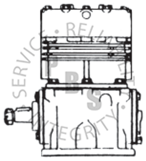 280283X, TF-600, Air Compressor, 6 Hole, L.S., E.O., Water Cooled Head, Air Cooled Block