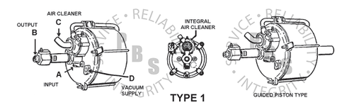 """374550, Hydrovac, Third Series, Single Piston Type  6-3/4"""" Diameter, 11-3/16 Over All Length  1/2"""" Input, 1/2"""" Output, 1/2"""" Air Cleaner Tube, 3/8"""" Vacuum Supply"""