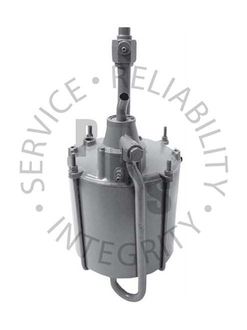 """2508177, Hydrovac, Third Series, Single Piston Type  9-1/2"""" Diameter, 23-5/16 Over All Length  1/4"""" Inverted Flair Input, 1/4"""" Inverted Flair Output, 3/4"""" Air Cleaner Tube, 1/2"""" Vacuum Supply"""