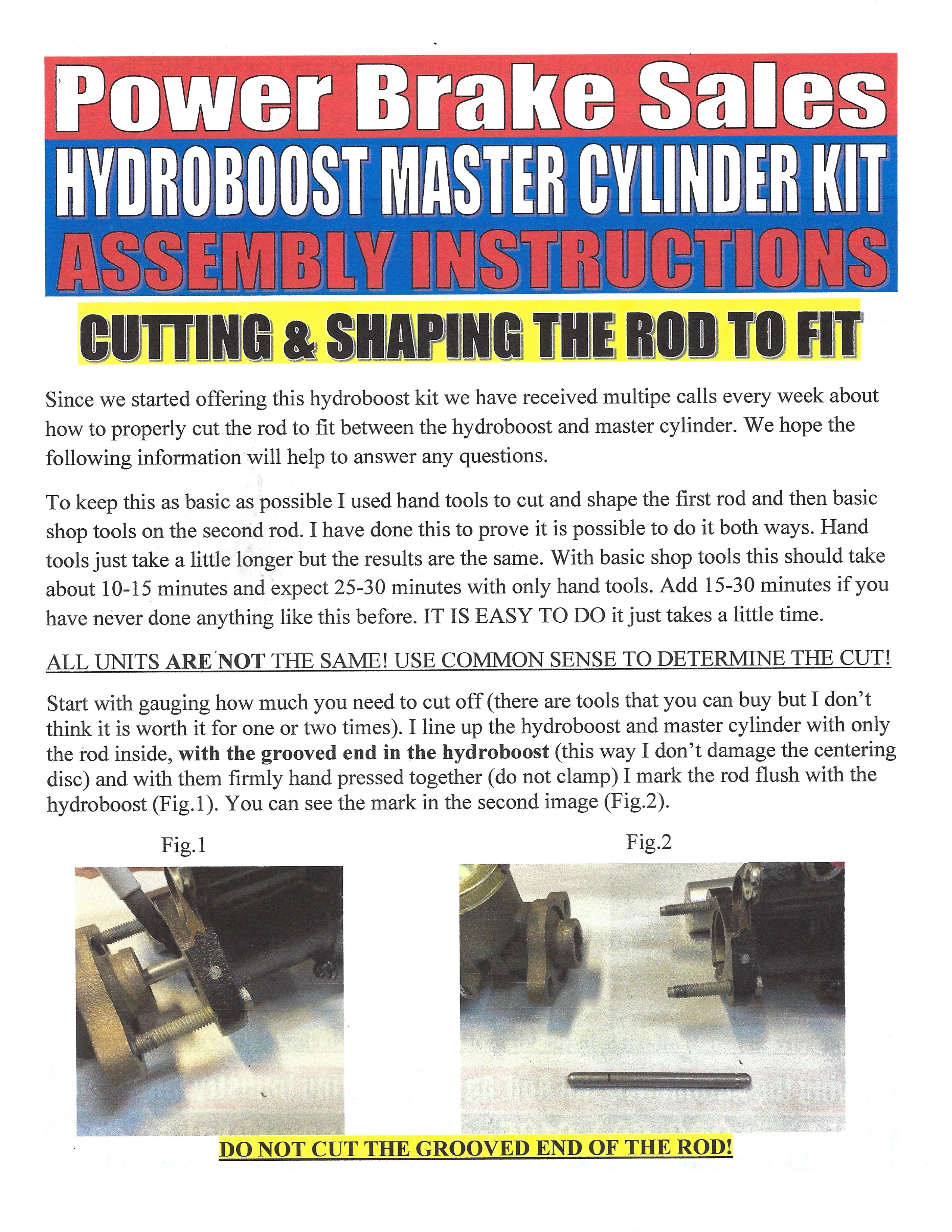 Hydroboost Kit Cut Rod Instructions