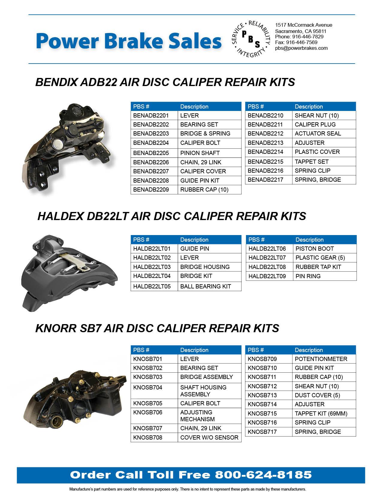 Power Brake Sales Now Stocking Air Disc Caliper Repair Kits
