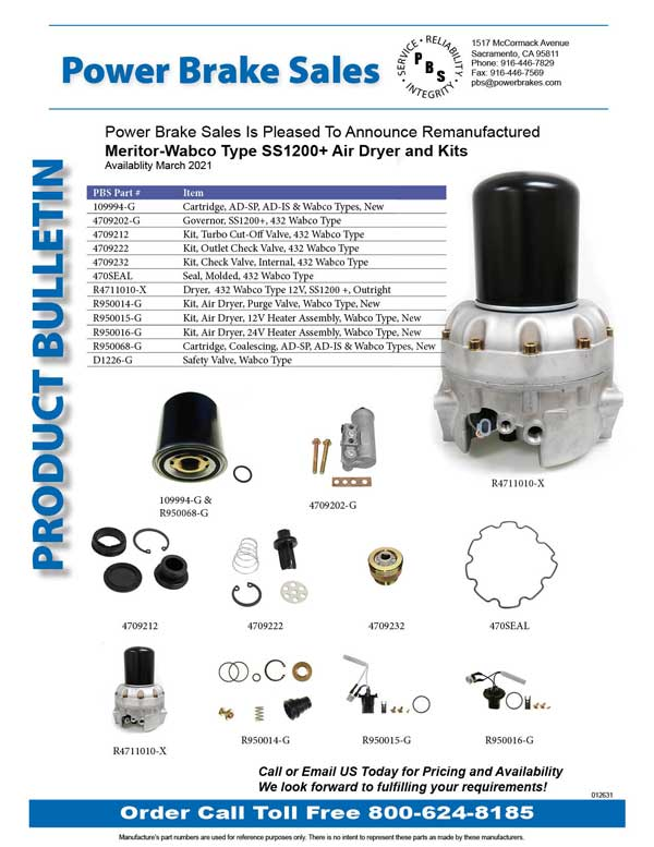 Meriotor-Wabco Type SS1200+ Air Dryer & Kits