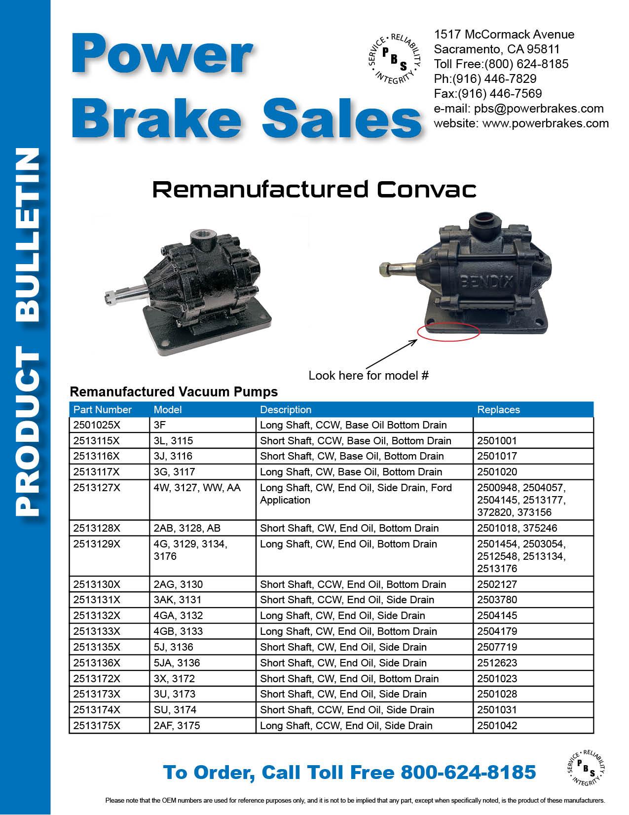 Power Brake Sales Convac Pumps page