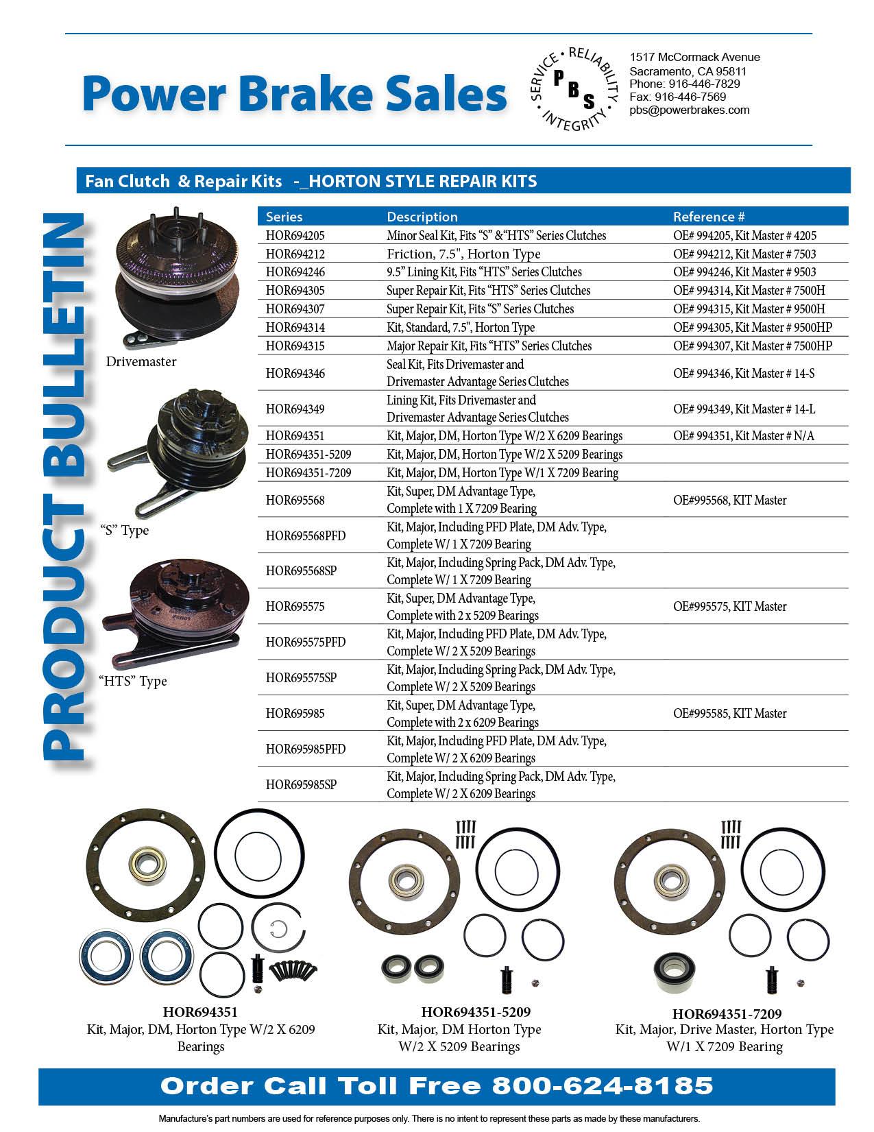 Fan Clutch  & Repair Kits   -_HORTON STYLE REPAIR KITS
