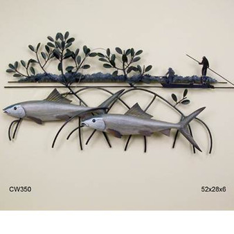 Threading the Needle. Our metal wall sculpture features three handcarved wooden Bonefish swimming lazily under metal mangroves. On top of the water, fisherman pole their boat through the shallows to get closer to their prey. 52x28x6.