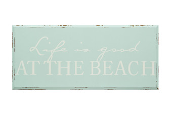 "Wooden sign - Life is Good At the Beach!  Great colors for that nautical room in your home.  Size 16"" x 7""H."