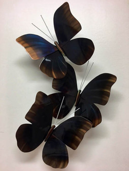 "Set of Three Butterflies, from "" Copper Art "". Creative contemporary wall art for your home. Size, 17.5"" x 10"" x 4""."