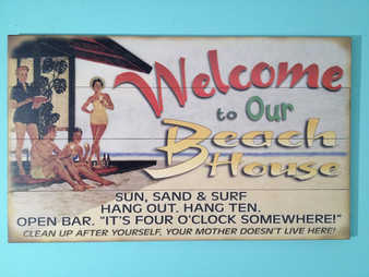 Welcome to Our Beach House Wooden Wall Sign