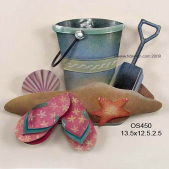 Bucket of Shells, Patio Safe - Metal Wall Sculpture