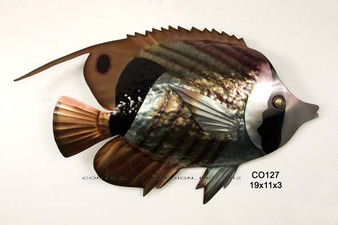 Striped Butterfly Fish Metal Wall Art