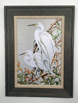 """Birds of a Feather - White Herons 32"""" x 24"""""""