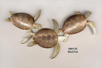Triple Sea Turtles Copper Wall Art