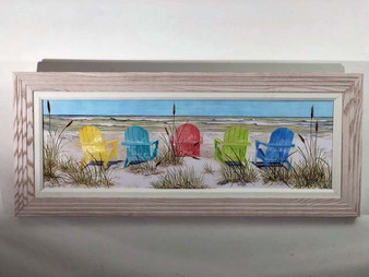 """Framed Beach Chairs Large Wall Painting 41x17"""""""
