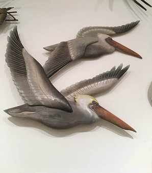 Hand Carved Wooden Pelicans