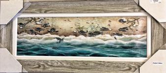 Sea Turtle Art Painting Gray Frame 43 x 19