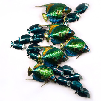 Large School of Tangs with 5 Angelfish Metal Wall Art