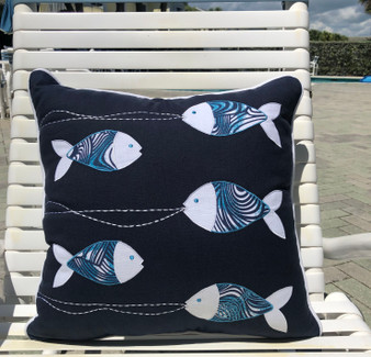 Navy Blue Pillow with Fish Indoor Style