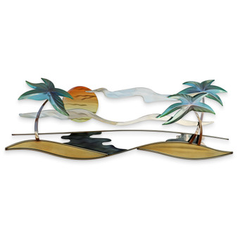 TROPICAL BEACH METAL WALL ART CO155