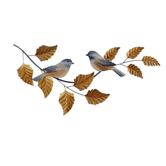 Chickadees on Branch Metal Wall Art CO163